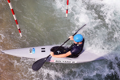 Wesley Bolyard slalom training at the U.S. National Whitewater Center in Charlotte, N.C., on July 15, 2020
