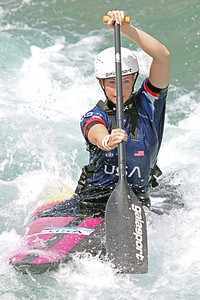 Evy Leibfarth slalom training at the U.S. National Whitewater Center in Charlotte, N.C., on July 15, 2020