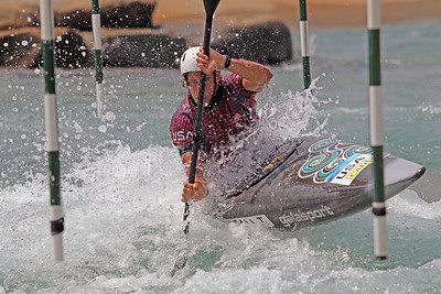 Tyler Westfall slalom training at the U.S. National Whitewater Center in Charlotte, N.C., on July 15, 2020