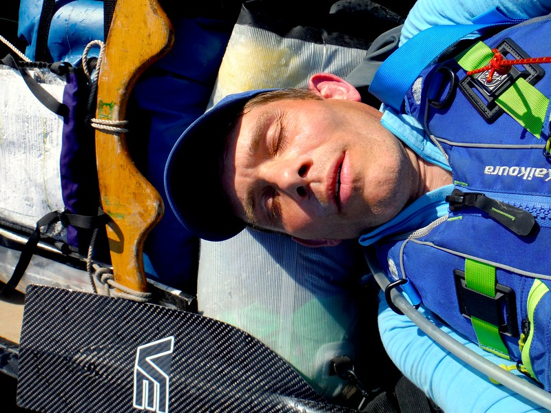 Sleeping beauty impersonation whilst canoeing the River Severn for 24 hours