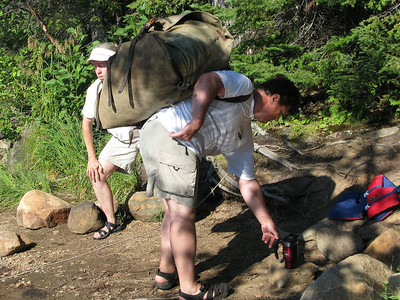 Jim loading up a Duluth pack