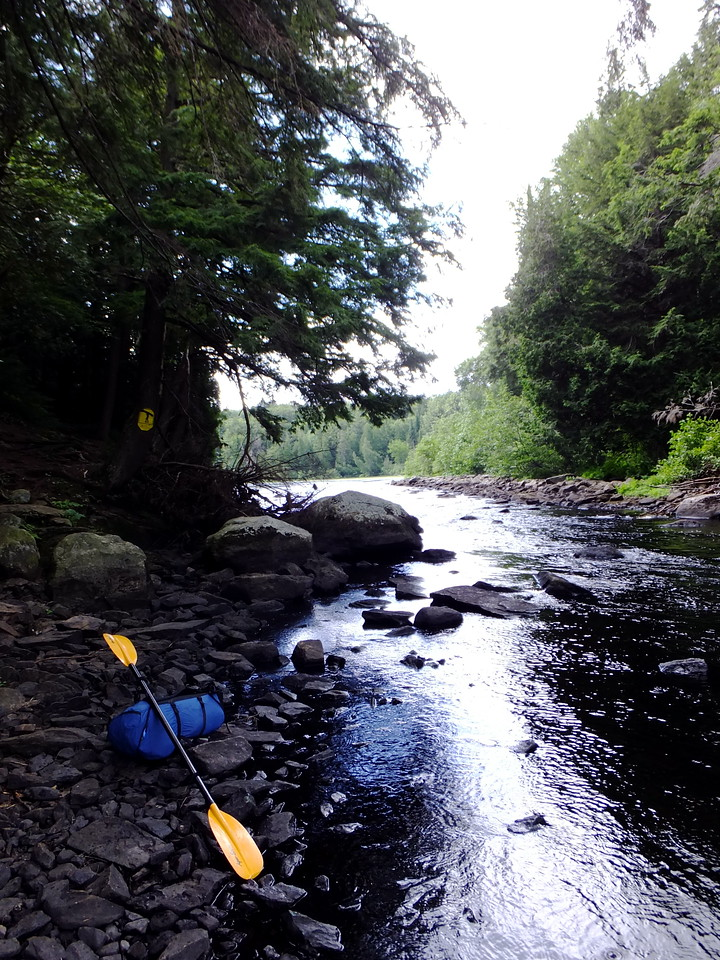 The next portage was also short.  Some folks walk their canoes through the rocks instead of portaging.