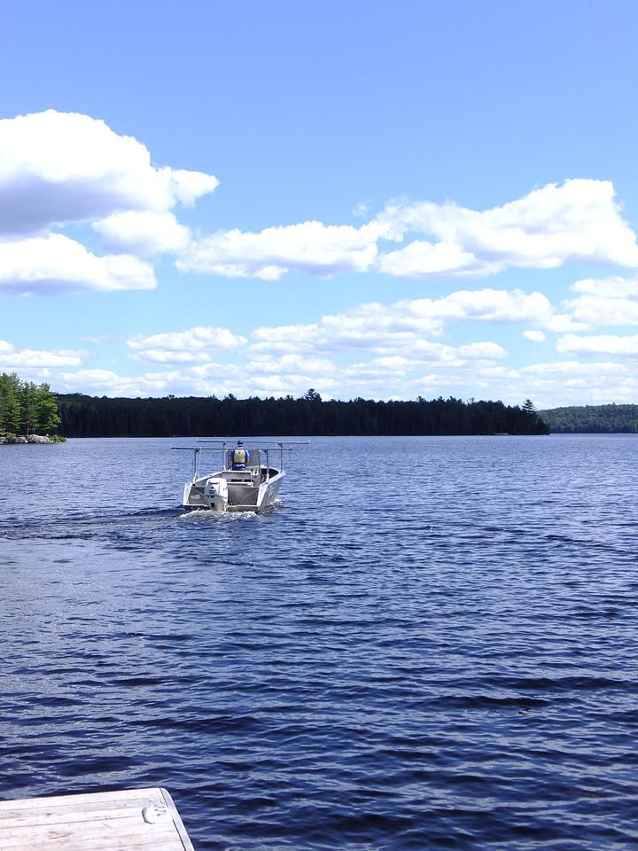 Driver drops me at the portage to Happy Isle Lake.