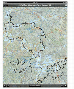 The plan: water taxi to the north end of Opeongo, then a loop through some of the big lakes.