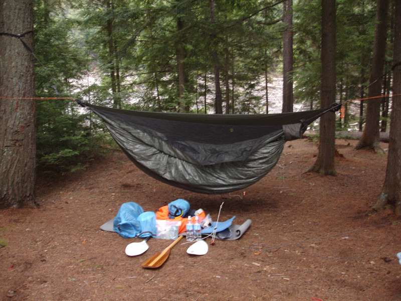 Campsite with hammock and all my essential (and non-essential) supplies!