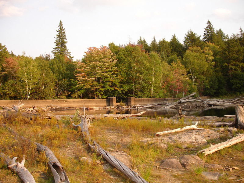Dam at the exit of Ragged Lake.  An old logging chute was once here.