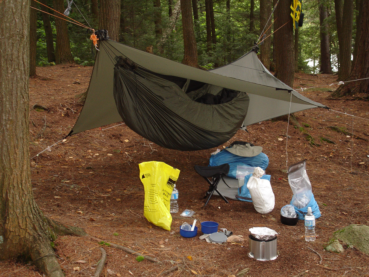 The day's agenda: leisurely breakfast, try out my new tarp doors, and head back down the portage to Ragged Lake.