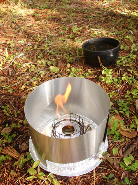 Firing up the Packafeather stove for breakfast.