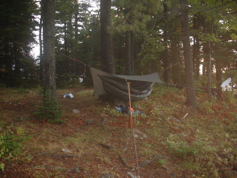 "Tarp in ""porch mode"" with paddles as supports."