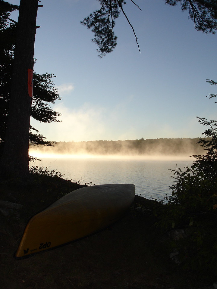 Morning mist on Harry Lake. Nighttime low was 7.5 degrees.