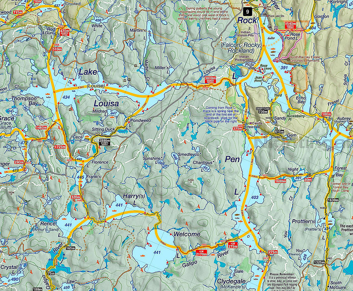 From Access Point 9 (top of map) south through Rock Lake, Pen Lake, west to Welcome, Harry, Rence Lakes, north to Frank, Florence and Lake Louisa, then back east to Rock Lake.