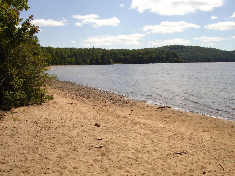 Beach at the put-in on Welcome Lake.