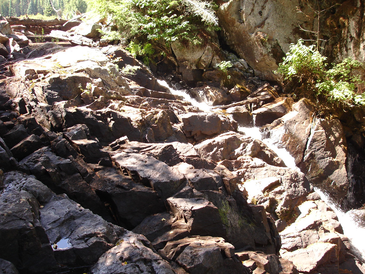 The 355 m portage circumvents this waterfall, which is just a trickle this year.