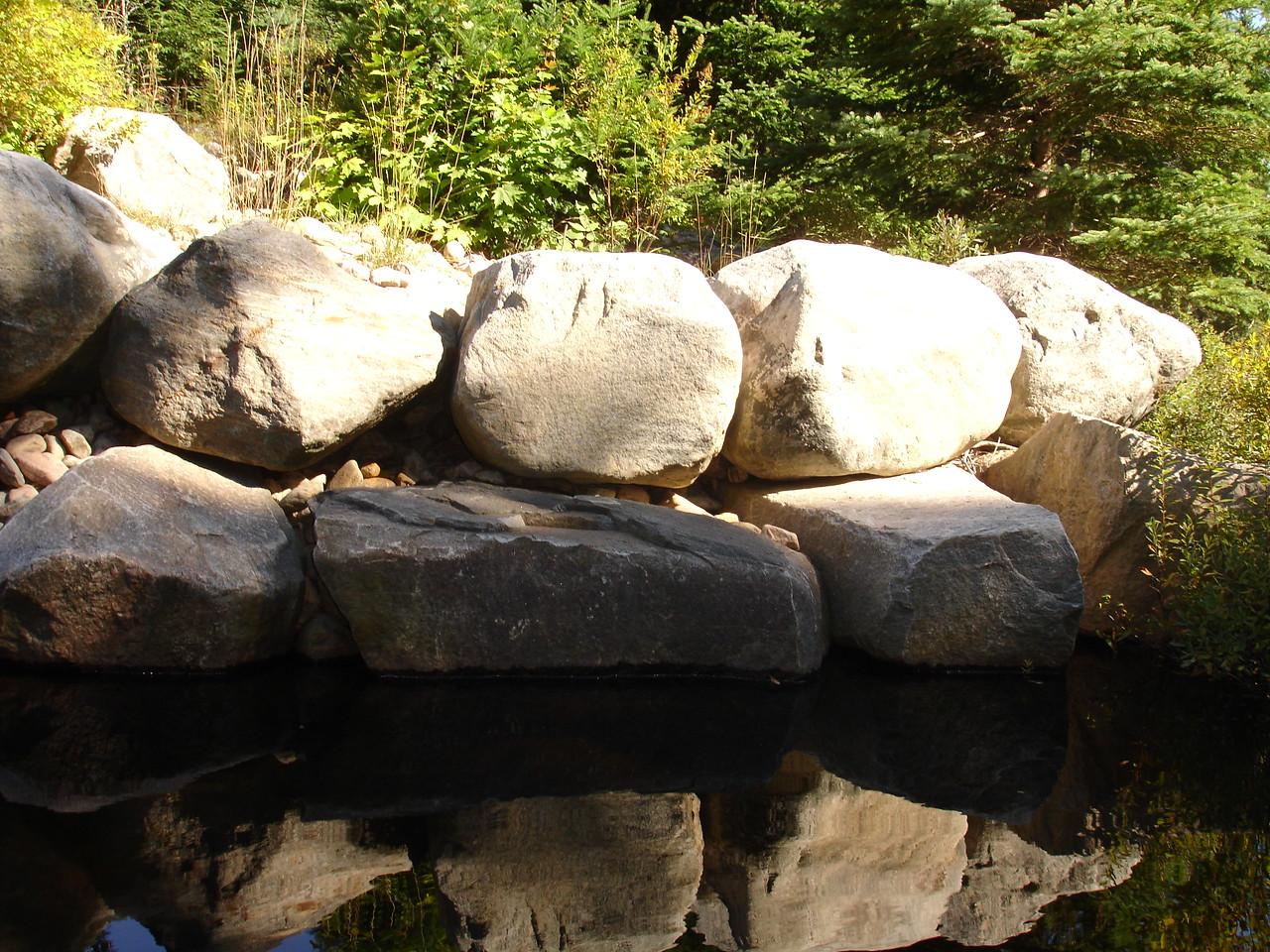 Foundation of an old logging road bridge.