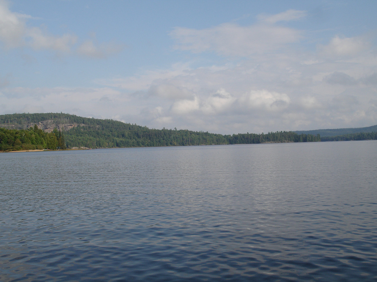 First view of Rock Lake.  The hill on the left is called Booth's Rock.  There's a hiking trail to the top.