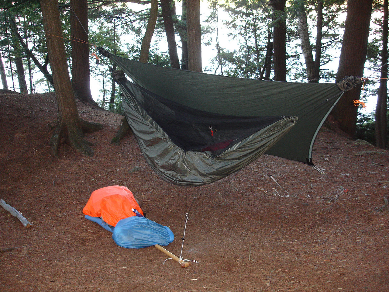 Blackbird hammock.  Tried out a new under-quilt protector from 2QZQ.  It protects the down under-quilt from rain splash, stops the wind from robbing the quilt's warmth, and adds an extra air pocket of warmth.