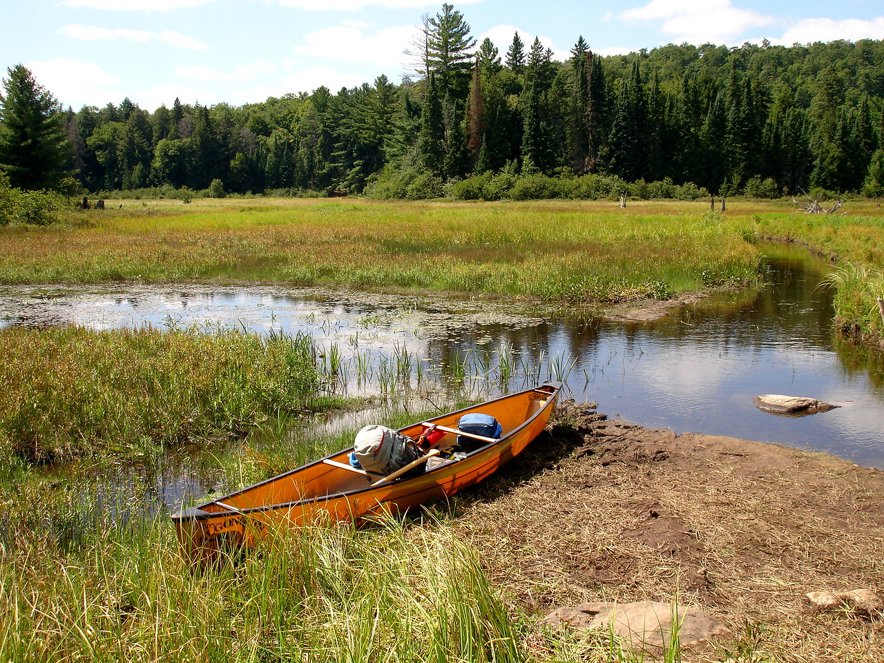 Now paddle up the channel on the right to the next portage take-out on the other side of the meadow.