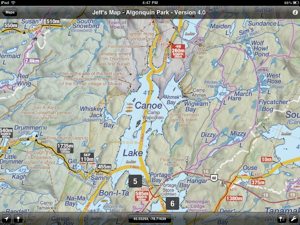 From access pt. 5, crossed Canoe Lk. to the 260m portage.