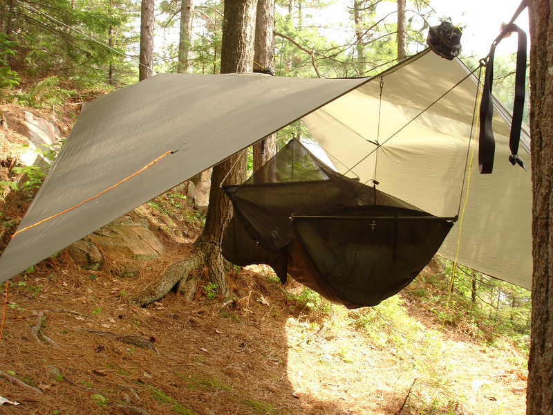 Warbonnet Ridgerunner Bridge Hammock and Cloudburst Tarp.