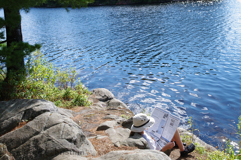 Natalie enjoying an afternoon read. Exactly how many access points are there in Algonquin Park?