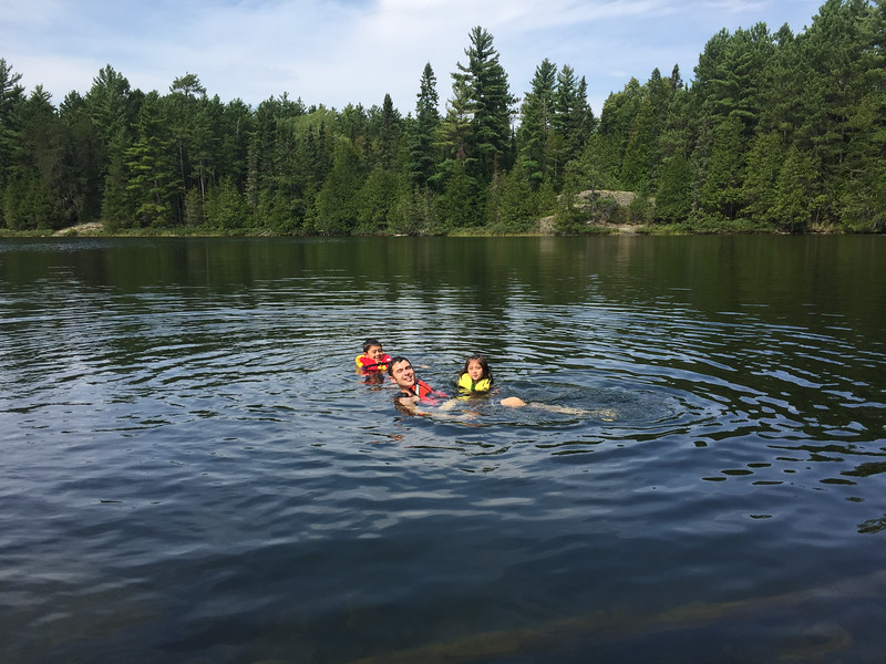 We paddled down the rest of Knife and camped near the Ottertrack. Here we are swimming at the portage between Ottertrack and Knife! Not many people around here as we are about 20 miles into the BWCA.