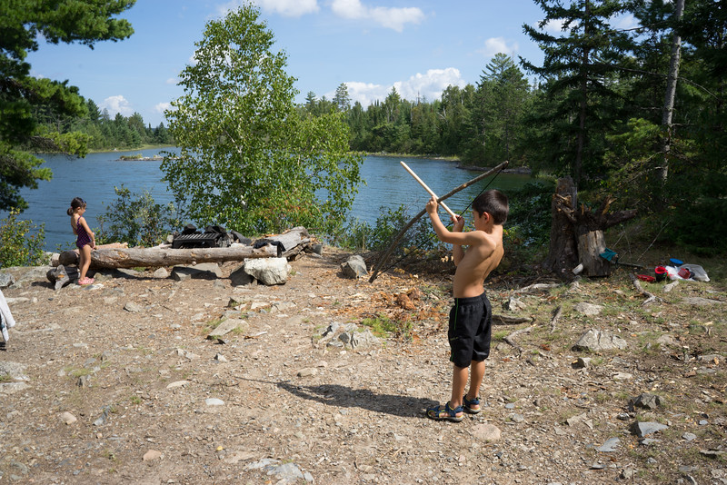 We found a bow and arrow at our 4th campsite that the kids played with.