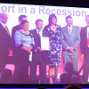 Sam Jackson, Rob Bates, myself and Geoff Tilford proudly receiving our award. I think that more forward planning needed to have gone into the backdrop though! :-( Sorry for the poor quality but this is a photograph of the big screen!