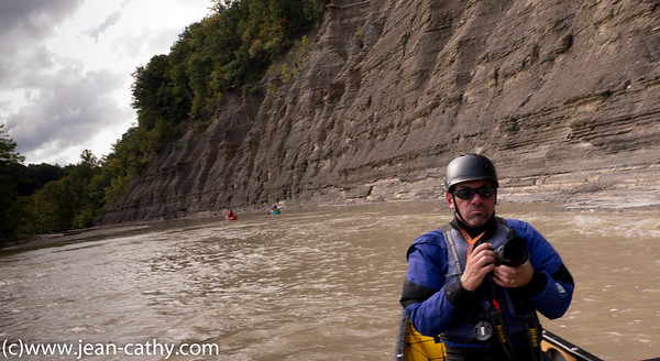 An example of the canyon walls that frame the Cattaraugus on both sides for most of our paddle route.