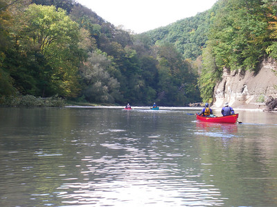 members of the Waterloo Wellington Canoe Club (WWCC) paddle Upstate New York's Cattaraugus Creek. Possibly the most spectacular paddling destination for hundreds of miles around. Photo by Brian Fleet