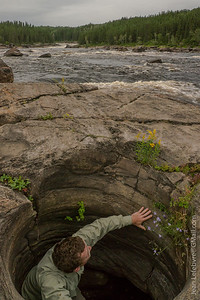A Giant's kettle, also known as giant's cauldron or pothole, is a cavity or hole which appears to have been drilled in the surrounding rocks by eddying currents of water bearing stones, gravel and other detrital matter.