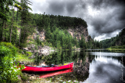 """View of the """"Natch"""" cliff. Petawawa River in Algonquin Park."""