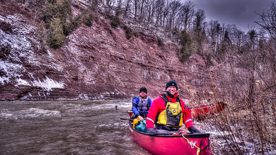 We were eager to start our canoeing season ... we decided to tackle an urban creek that runs in sufficient volume only in the early spring. The creek runs through Oakville Ontario in Canada a city of 200 000 but canoeing in this small canyon we do not see any evidence of the city. Here's a photo taken on Sixteen Mile Creek in Oakville Ontario Canada on March 16, 2013.