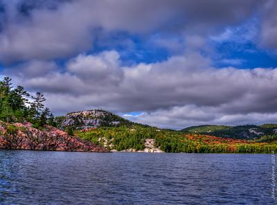 Pink and white granite of George Lake, Killarney, Ontario