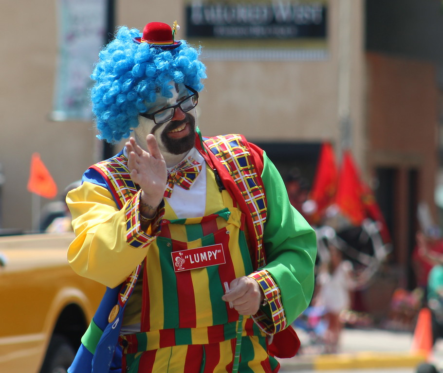 . An Al Kaly clown makes his way through the 2017 Music and Blossom Festival.