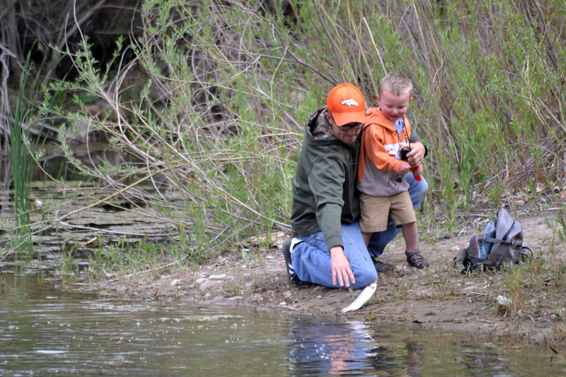 Marc Henderson and his son, Jase Henderson, 3, reel in one of several fish they caught during the annual Kids Fishing Derby on Saturday at Pathfinder Park Pond, sponsored by the Canon City Area Recreation and Parks District and Colorado Parks and Wildlife. Carie Canterbury/Daily Record 5-14-16