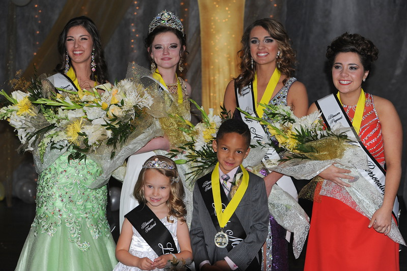 The 2016 Canon City Music & Blossom Festival Queen's court, pictured from left to right: Alessandra Giammo, 2nd attendant; Courtney Crossman, queen; Jordyn  Whitney, 1st attendant; Ceianna Higgins, Miss Personality; front row: Tayah Salazar, Little Miss, and Kayden Fields, Little Mister. Carie Canterbury/Daily Record 3-19-16
