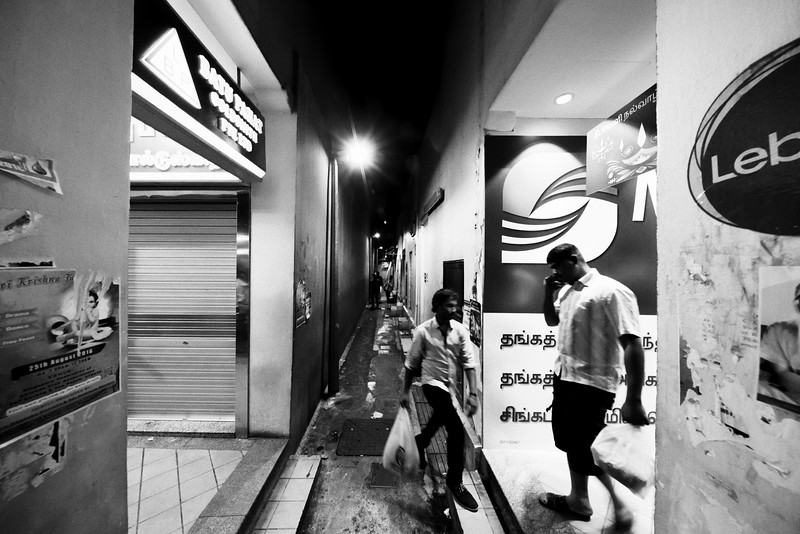 """A study of vectors, typography and perspective at late-night Little India.<br><span style=""""font-size:75%"""">©Yangchen Lin</span>"""
