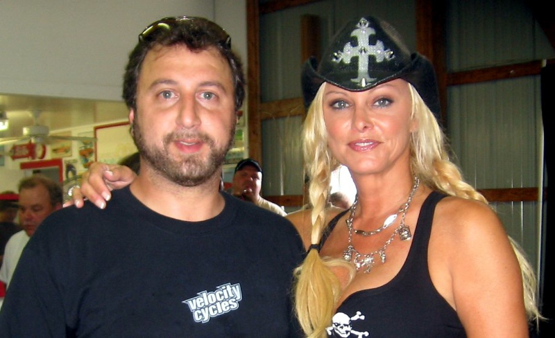 Michelle Smith of American Thunder with some unknown dude wearing a Velocity Cycles T-Shirt