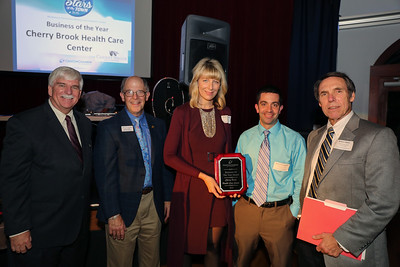 Cherry Brook Health Care Center was recently named Business of the Year by the Canton Chamber of Commerce. From left are Chuck Joseph Jr., outgoing chamber president, Chamber executive director Gary Miller, Cherry Brook director of Admissions and Marketing Rebecca Stevenson, Cherry Brook Administrator Jacob Bompastore and Robert Maher, CEO of New Horizons Inc. Photo by John Fitts