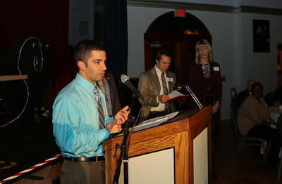 Cherry Brook Administrator Jacob Bompastore thanks the chamber for awarding the non-profit as Business of the Year.  Photo by John Fitts