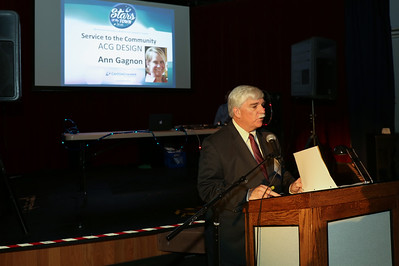Chuck Joseph Jr. is the Canton chamber's outgoing president and served as emcee at the recent Stars of the Town Award Ceremony. Here he recognizes Ann Gagnon for her service to the community.  Photo by John Fitts