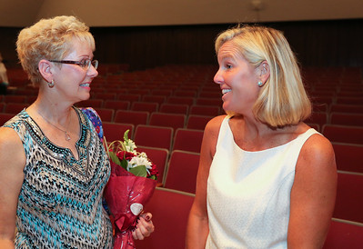Sandy Hamelin, left Canton's 2016-2017 paraeducator of the year, with Beth Dropick, the district's 2016-2017 teacher of the year.  Photo by John Fitts