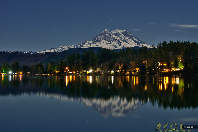 Mt. Rainier Under Moonlight on Clear Lake<br /> D3C_0004 RT_2