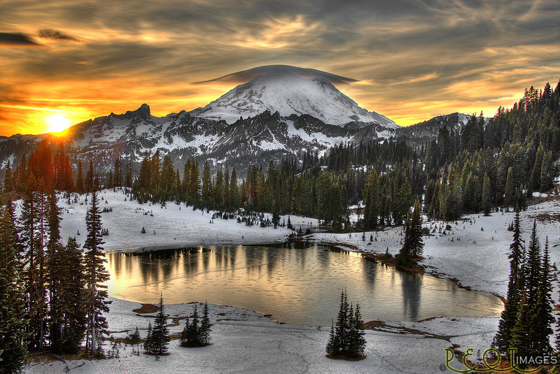 Tipsoo Lake/Mt. Rainier - Early Winter Sunset<br /> Rainier early winter RT3