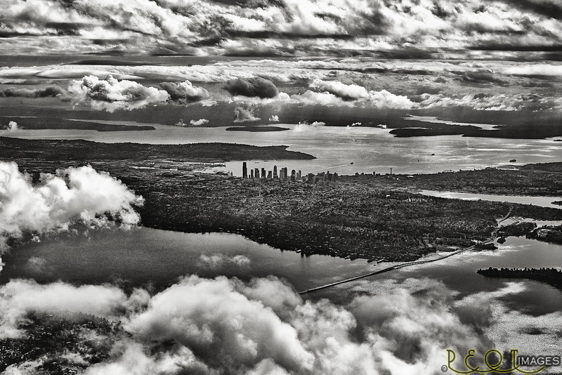 seattle b&w from air sw view 20x30