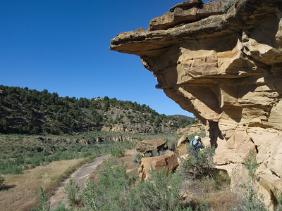 """The second morning of our travel to Moab, we are south of Rangely, CO, on CO Rte 139, in what is called the Canyon Pintado Nat'l Historic District.  For many miles, there are pullouts leadering to short hikes where one can see Fremont and more modern Ute""""rock art.  Here we have hiked about 1/3 of a mile to a pictograph that is called Sun Dagger."""