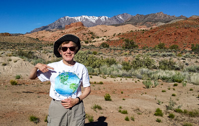 The next day was Earth Day, and her is Susie showing off her Earth Day T-shirt from 27 years ago. That is Mt. Hillers in the background.