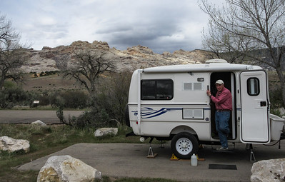 We were successful at getting a decent campsite in the Green River campground in the Monument.  Late that day, despite early season, the campground was essentially filled.