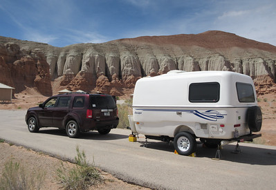Two days later, here we are in Goblin Valley State Park.  When we had passed thru here seven years ago, we thought the campground looked pretty neat, and it is.  Not a lot of sites, and we had to make our reservation in December, but here we are.