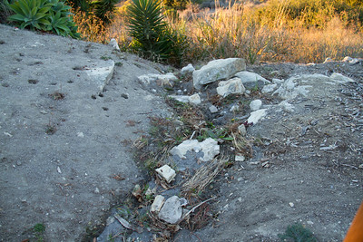A rill which is on its way to becoming a gully at the Rock Park entrance.